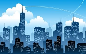 Blue City with High Rise Building - Free vector #174003
