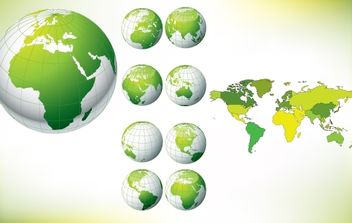 Globe Pack with Map Around - Free vector #174123