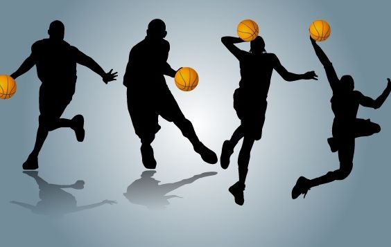 Players Performing with Basketball - vector gratuit #174143