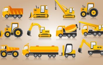 Heavy Construction Yellow Vehicle Pack - Free vector #174183