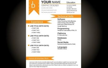 Orange Basic Resume Template - Free vector #174213
