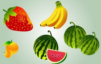 Cartoonish Fruit Pack Vector - Free vector #174243