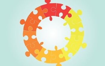 Vector Circle Shaped Puzzle - vector gratuit #174303