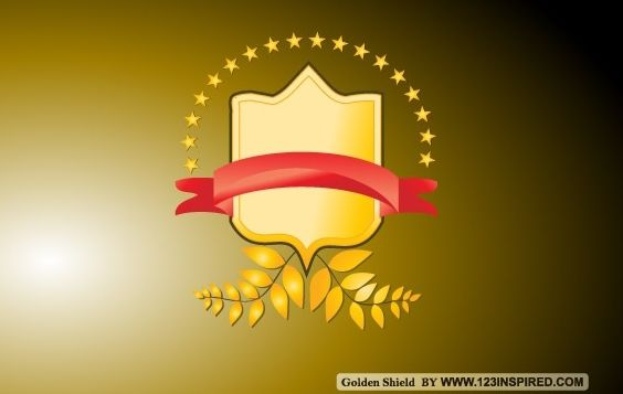 Golden Vector Shield - Free vector #174823