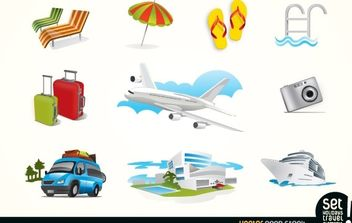 Holiday Travel Elements Icons - Free vector #174963