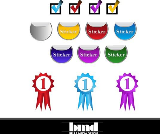 Stickers, Ribbons and Check Marks - Free vector #175053