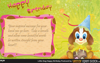 little dog happy birthday postcard - vector gratuit #175243