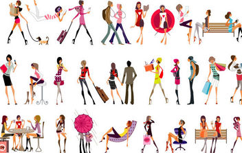 Vector Glamour Girls - Free vector #175393