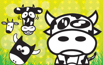 Cows Cartoons - vector gratuit #175473