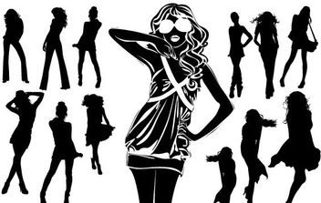 Silhouettes of Beautiful Women in Vector Format - бесплатный vector #175673