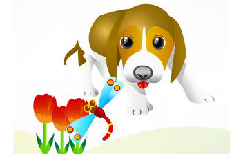 Free Vector Dog and insect - vector gratuit #175783