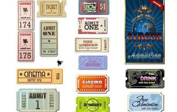 Vintage Movie Ticket Vector Set - Free vector #175813