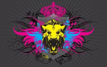 Lion Head and Windgs - Free vector #175873