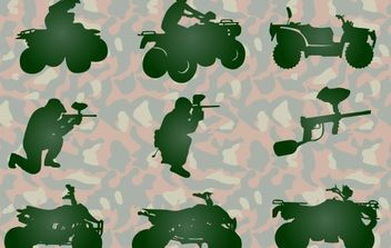 Paintball and atv silhouettes - Free vector #176143