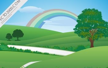 Fresh green landscape with rainbow - vector gratuit #176233