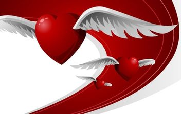 Heart with wings - vector gratuit #176373