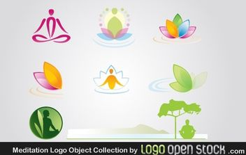 Meditation Logo Object Collection - vector gratuit #176443