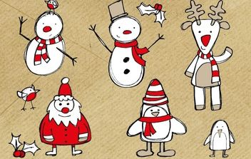 Free Christmas Themed Sketchy Vector Graphics Pack - Free vector #176873