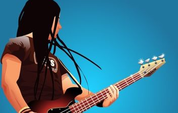 Bass player Vector Graphic - vector gratuit #177223