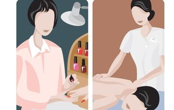 illustrations of manicure and massage - vector gratuit #177323