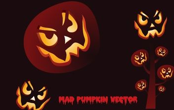 Mad Pumpkin Vector - Free vector #177503