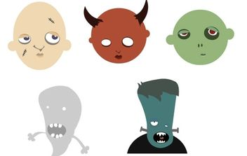 Free vector halloween heads - vector gratuit #177543