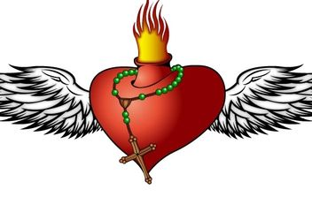 Burning Heart - vector gratuit #177553