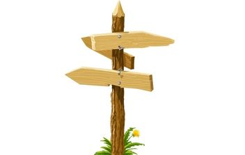 Wooden direction arrows on the crossroads - vector gratuit #177573