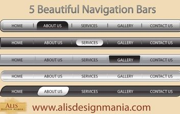 5 Beautiful Web Navigation Bars - vector gratuit #177633