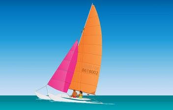 Catamaran Sailing - Free vector #177743