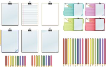 Clipboard and Pencils Vector - бесплатный vector #178443