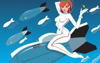 Girl riding rocket with missiles - vector gratuit #178733