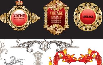 Vintage Decorative Vectors - vector #178763 gratis
