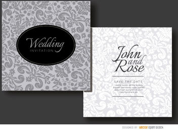 Floral gray invitation sleeve - Free vector #179493