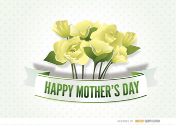 Mother's Day flowers ribbon - Free vector #179503