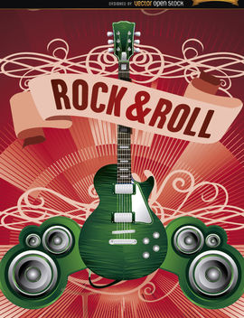 Electric Guitar rock poster - Free vector #179543