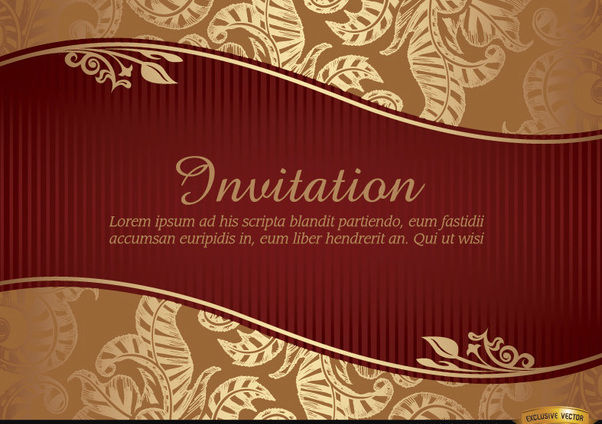 Marriage invitation with riband and pattern - vector gratuit #179563