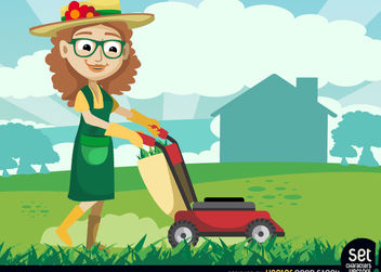 Female Gardener with Grass Cutter Machine - Free vector #179603
