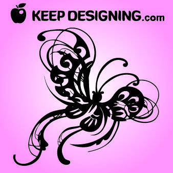 Swirly Winged Vintage Butterfly - Kostenloses vector #179653