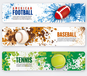 American football, tennis and Baseball Banners - бесплатный vector #179723
