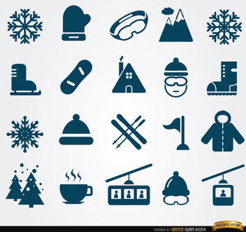 20 Winter elements icons - vector gratuit #179813