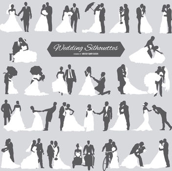 Wedding Groom and Bride Silhouettes - vector gratuit #179883