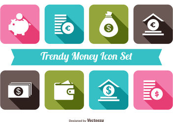 Money Icon Flat Colorful Squares - Kostenloses vector #179943