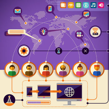Network Communication Technology Infographic - vector gratuit #179963