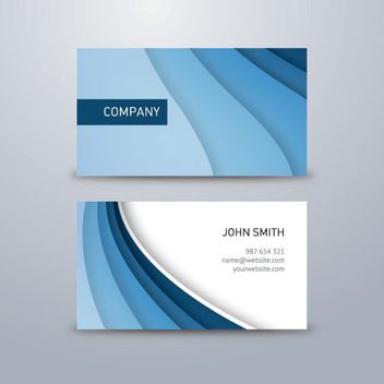 Blue Waves Classy Business Card - vector gratuit #179973