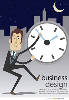 Businessman clock late night - vector gratuit #179993