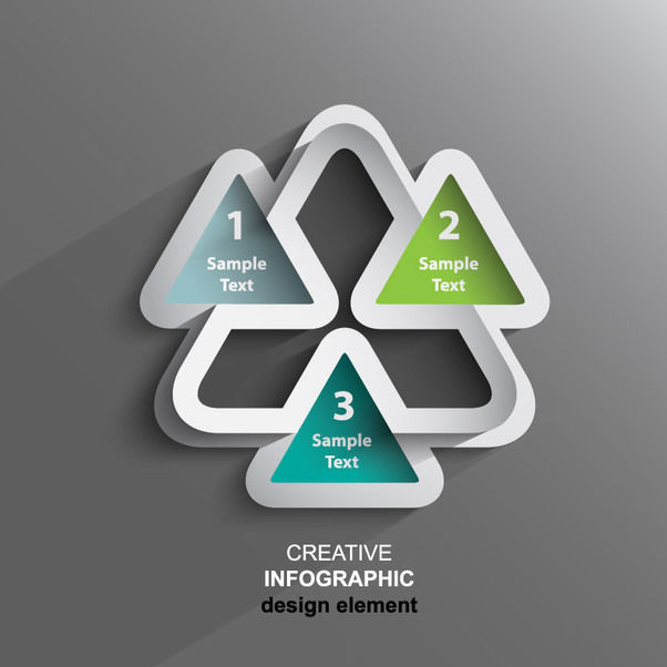 Creative Triangular 3d Sticker Infographic - Free vector #180093