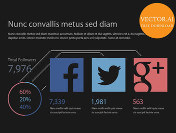 Simplistic Social Media Statistic Infographic - Free vector #180103