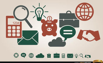 Business financial icons menu - Free vector #180123