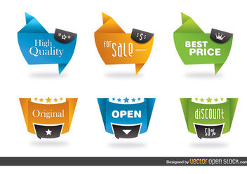 Modern origami style labels - vector #180233 gratis